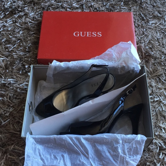 Guess Shoes - Guess black patent open toed stilettos